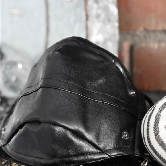 Faux Black Leather Face Mask